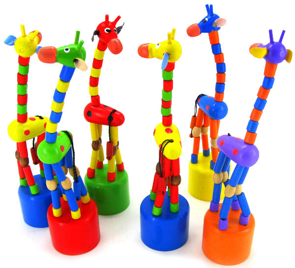 Wooden Educational Toys Wooden Rocking Animals Rock Spring Barrel Thumb Giraffe Baby Wooden Toys Birthday Gift Creative Toys