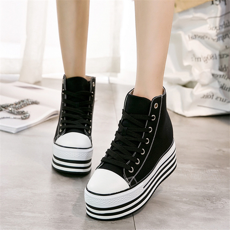 edb1861aed8c Height Increasing 10cm Wedges White sneakers Casual Canvas Shoes Woman Platform  sneakers High Top winter sneakers. sku  32947848447