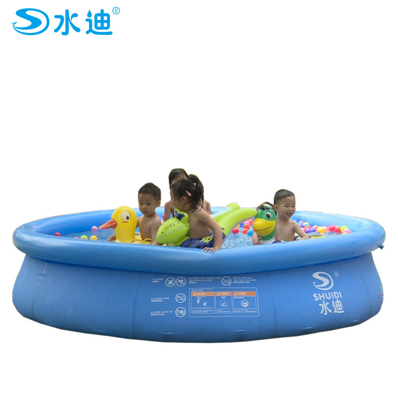 ФОТО Ultra-large Type Dish Adult Swimming Family Children Inflation Pool Round Thickening Fluorescent Trinuclear Inflatable Outdoor