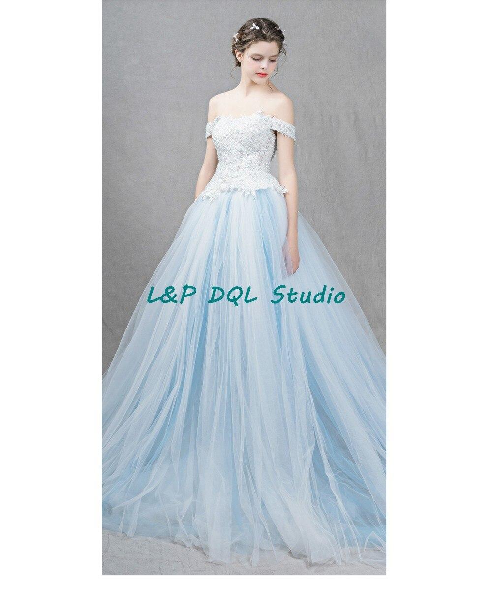 Stunning Ball Gown Wedding Dresses Court Train Strapless Light Sky ...
