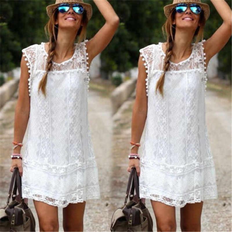 2019 été dame Mini robe dentelle Flare sans manches robes courtes pour les femmes solide blanc évider lâche décontracté robe de plage femmes