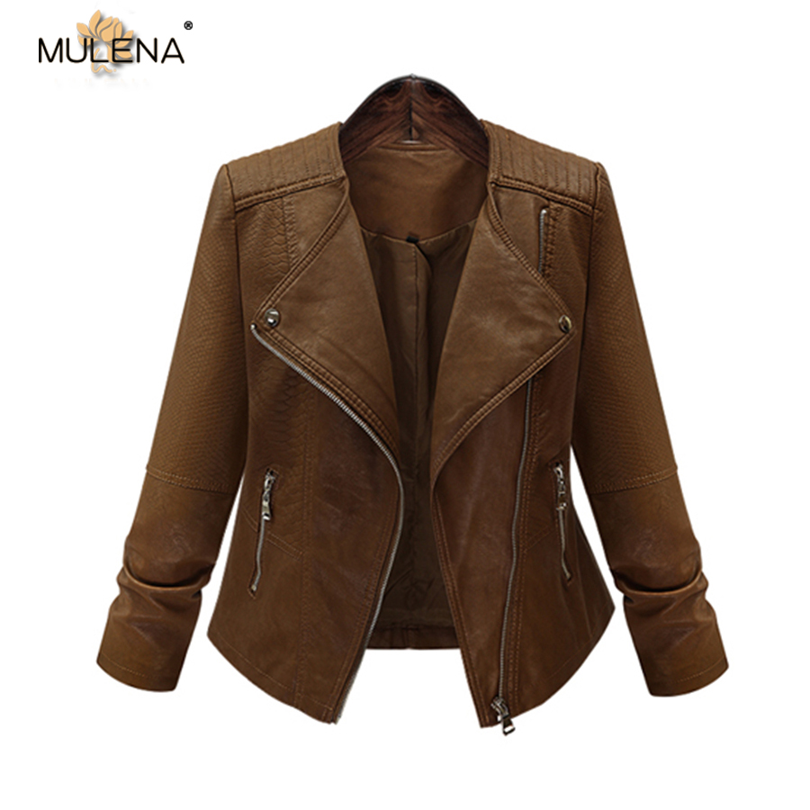 Mulena PU plus size short   leather     suede   jacket women slim solid full sleeves zipper ladies coats fall brown moto biker outerwear