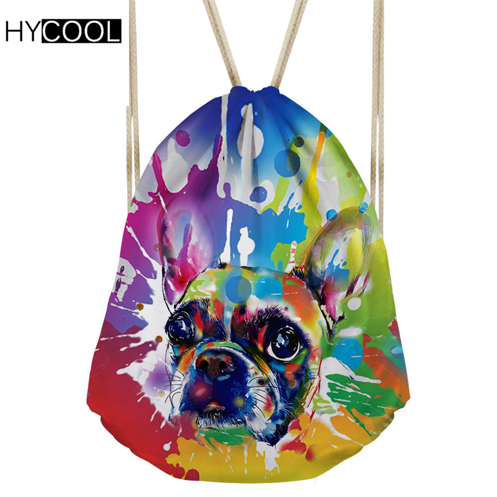 Hycool 2018 Sports Bag Women/men Gym Sack Graffiti Dog Printed Drawstring Bags Children Football Swim Cycling Backpack For Shoes Harmonious Colors