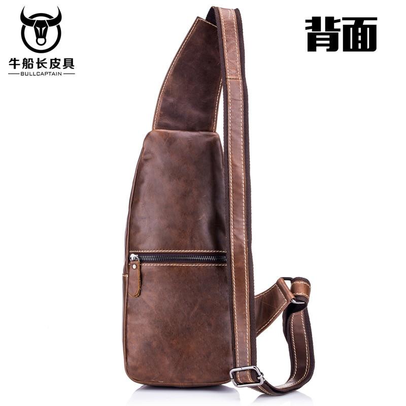 Image 3 - BULLCAPTAIN Vintage Men's Leather One Shoulder Crossbody Leather handbag Chest bag men leather bag Men's Cross Body Shoulder bag-in Waist Packs from Luggage & Bags