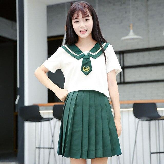 f8ce814e746f99 2 pièces Haut De gamme JK Uniforme Pour Les Filles Coréen Japonais hauts +  Jupe Cravate École Usure Étudiant Marin Noir Costume Blanc C30153AD