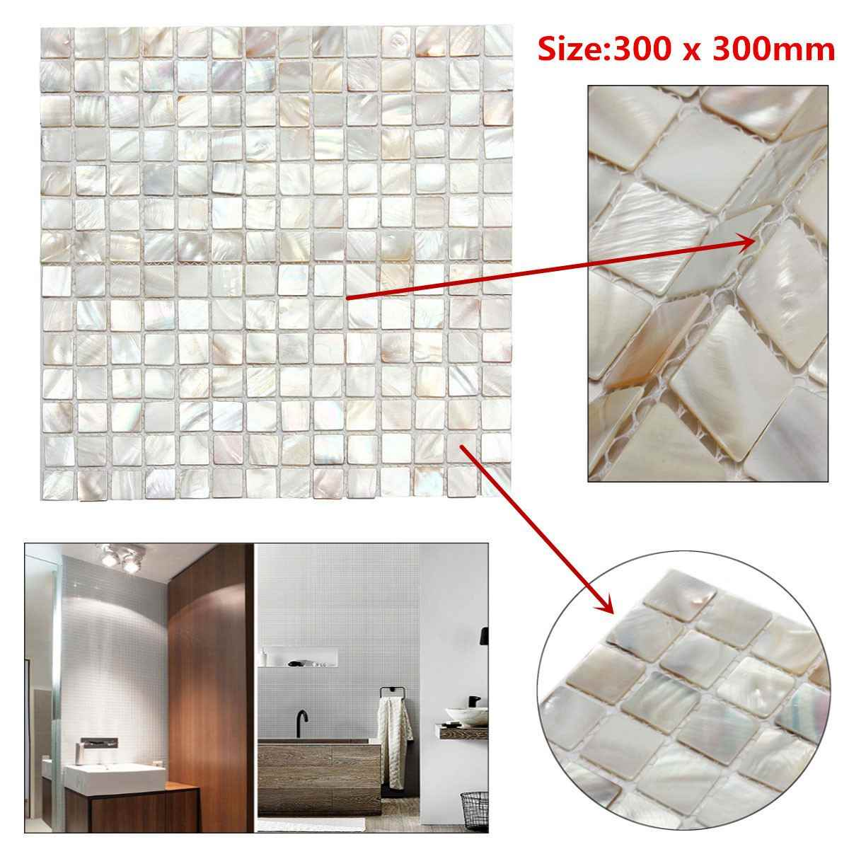 White Square Shell Tiles Natural Mother of Pearl Kitchen Backsplash Tiles Shower Background Bathroom Wallpapers