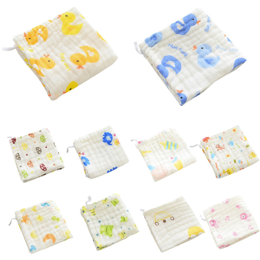 2018 Cute 6 Layer Baby Bibs Cotton Soft Saliva Handkerchief Toddler Feeding Burp Towel For 1-3 Age 28*28cm Dropshipping 0315