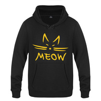 Fun Meow Hoodies Mens Trendy Street Fashion Cotton Cat Meow Printing Sweatershirts Unisex Thick Pullover Men 2018