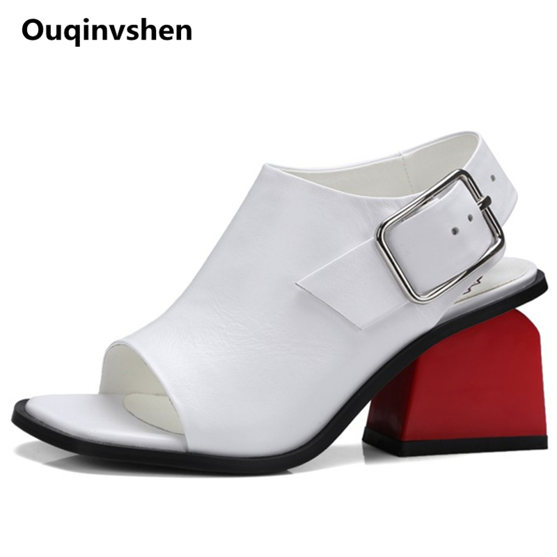 Ouqinvshen Summer Sandals High Heels White Strange Style Genuine Leather Buckle Women s Sandals Shoes Peep