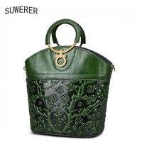 Suwerer из натуральной кожи Для женщин Сумки тиснением Роскошные Сумки Для женщин дизайнерские сумки кожаные Для женщин модная сумка Повседне