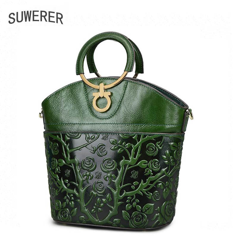 Suwerer Genuine Leather Women Handbags Embossed Luxury Handbags Women Bags Designer Leather Women Bag Fashion Casual Tote classic black leather tote handbags embossed pu leather women bags shoulder handbags elegant