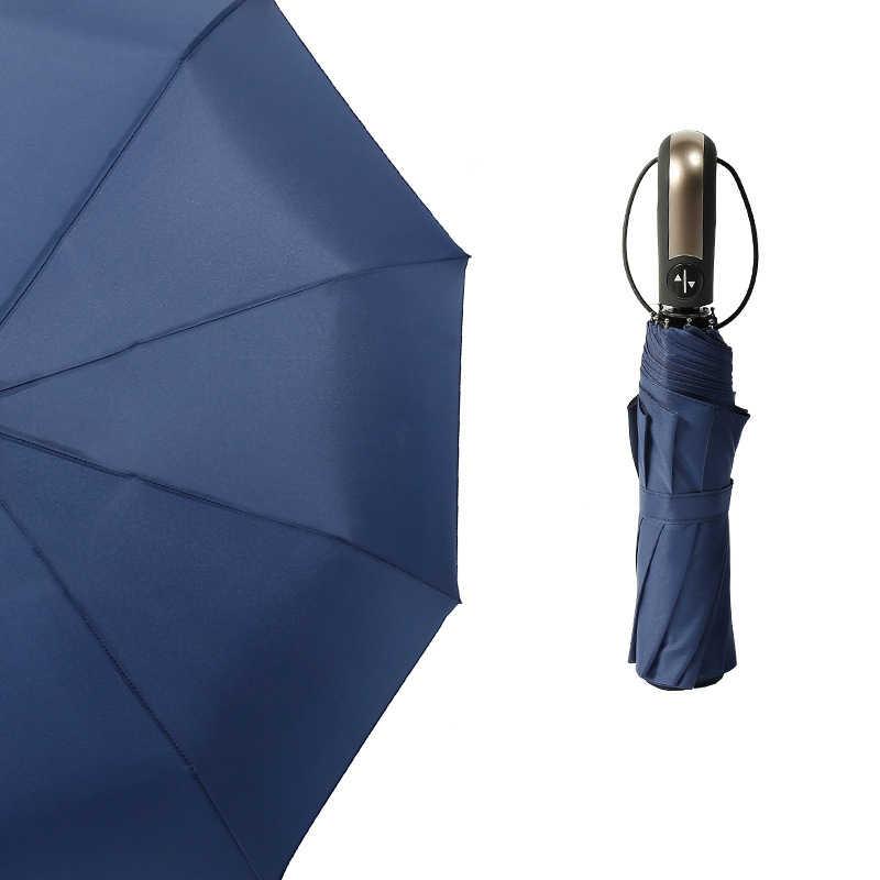 גדול מלא אוטומטית Windproof איש מטרייה עדין גברים אופנה מתקפל גשם מטריית נשים 10K שמשייה שחור ציפוי uv paraguas
