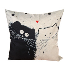 Cartoon images Linen Cotton Blend Cushion Cover Home Office Sofa Square Cat font b Pillow b
