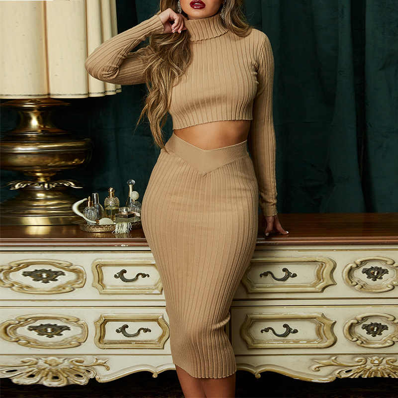 Deer Lady 2019 Bandage 2 Piece Set New Arrivals Women Ladies Bandage Dress Long Sleeve Sexy
