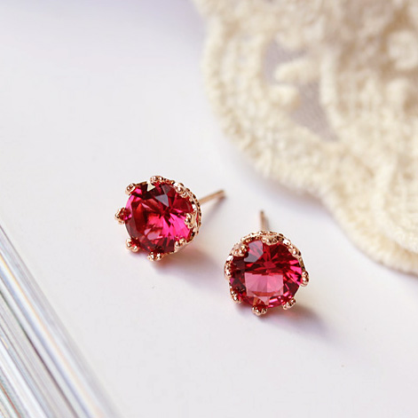 Top Quality Sweet Cute 8mm 2ct Crown Shaped Red Green Round Cz Stone Earrings Rose Gold Color Kids Children Jewelry In Stud From