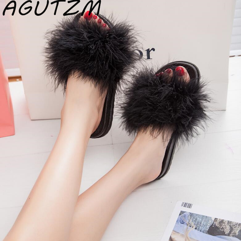 AGUTZM Fur Furry Slide Sweet Feather Thick Bottom Beach Female Sandals Hair Flip Flops Women Home Slippers Indoor Soft ruiyee hairy slide slipper sweet feather flat beach women sandals slippers ms home slippers outdoor shoes 2018 new year