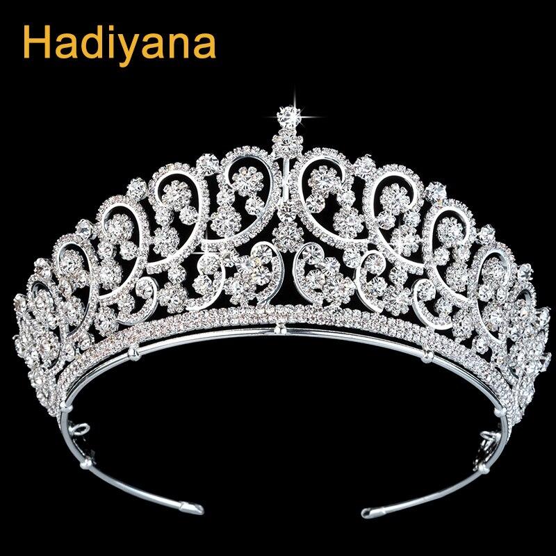 Hadiyana Fashion Girls Gothic Crown Headband With Cubic Zicons Hair Accessories Rhinestone Crowns Wedding Jewelry Tiara