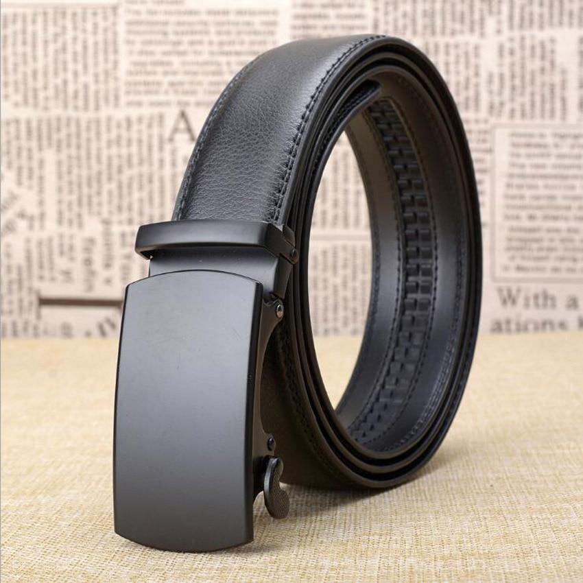 2018 Automatic Buckle Leather Belt Business Style Black Belt Mens Jeans Belts Strap Plus Size 125CM 130CM ZLB299