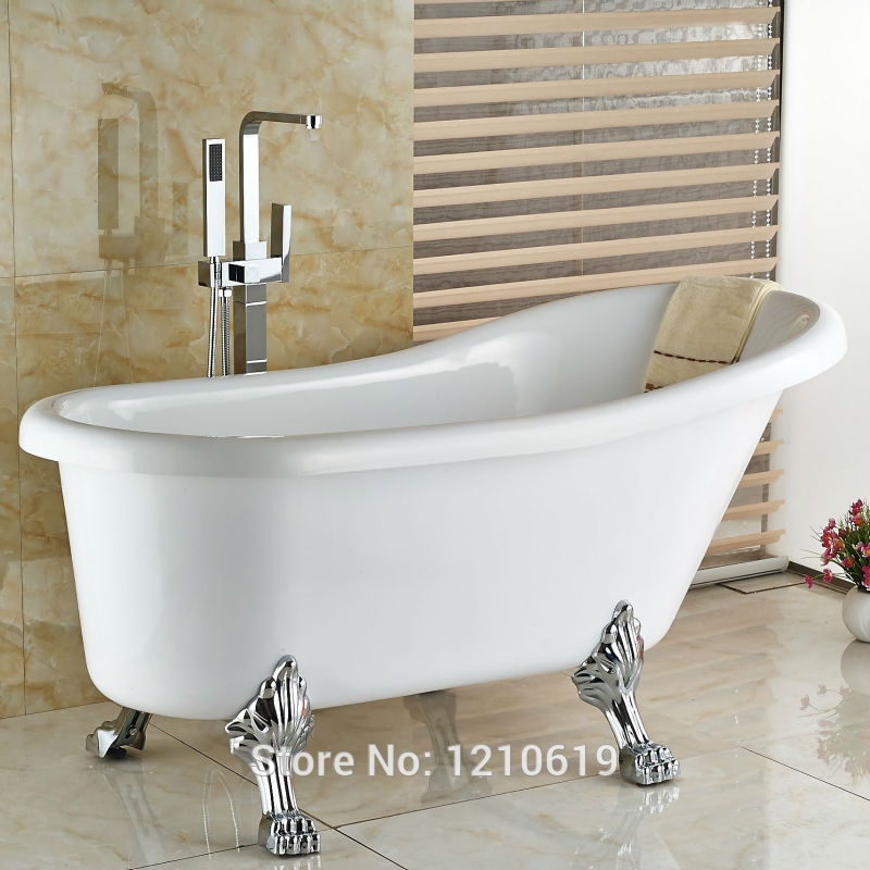 Newly Modern Simple Bathtub Faucet w/ Hand Sprayer Chrome Finished Bath Shower Tub Mixer Faucet Tap Floor Type newly modern chrome finished 4pcs bathtub faucet set deck mounted mixer tap with brass hand shower sprayer shower tub faucet