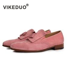 Vikeduo/ г., модные повседневные мужские замшевые лоферы ручной работы на плоской подошве Роскошная брендовая мужская обувь ручной работы без шнуровки, Zapatos de Hombre