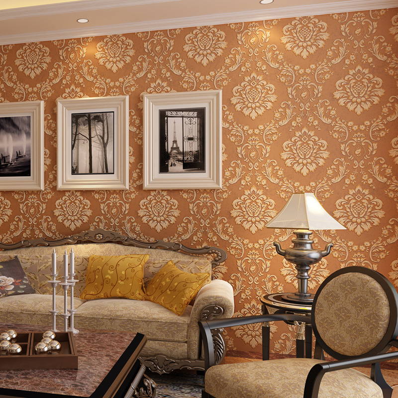 study background bedroom damascus woven non living 3d television flowers wallpapers