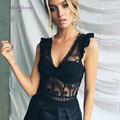 Beyonce Bodysuit Ruffle Black Sexy Lace Bodysuit V Neck Hollow Out Sleeveless Short For Women 2018 Summer Bodycon Slimming
