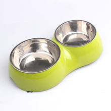 Metal cat food bowl Dog double bowl stainless steel dog bowl pet cat food pet supplies tableware disinfection watering