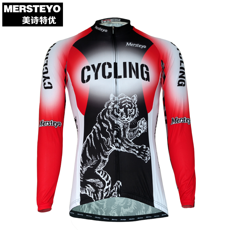 MERSTEYO Pro Men Bike jersey Long Sleeve Team Cycling clothing Cool Animal Red Riding Male MTB Wear Ropa Ciclismo Shirts Jakets