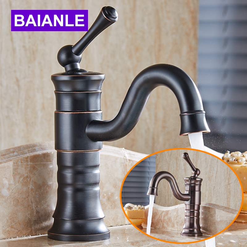Free Shipping Basin Faucet Wholesale&Retail Retro Black&ORB Bronze Bathroom tap Single Handle Vessel Sink Mixer hot&Cold Tap us free shipping wholesale and retail chrome finish bathrom sink basin faucet mixer tap dusl handle three holes wall mounted