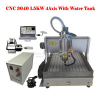 USB port LY CNC 3040 Z VFD 1.5KW 4axis cnc milling machinery with limit switch water tank china factory price