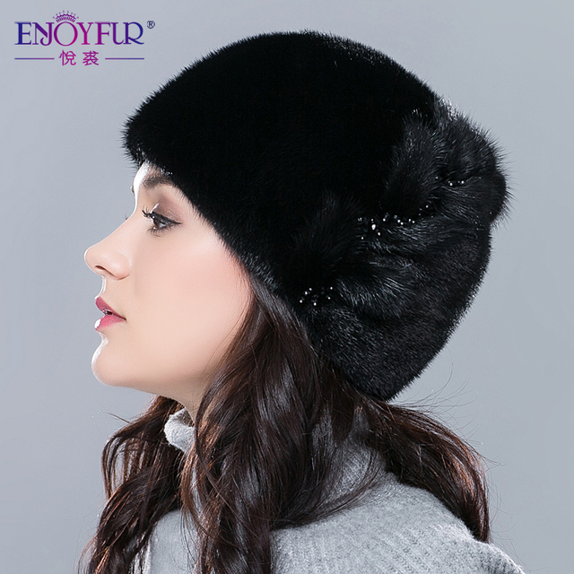 Cheap Women fur hats for winter real mink fur hat floral type adjustable skullies beanies  fashion sale female ear protector caps
