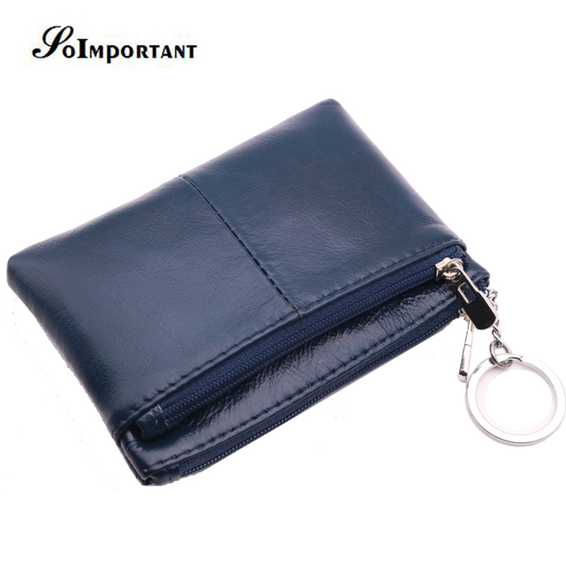 afda48620c US $7.99 49% OFF|Genuine Leather Oil Wax Leather Women Men Wallets Small  Slim Coin Purse Mens Mini Wallet Female Credit ID Card Key Holder Walet -in  ...