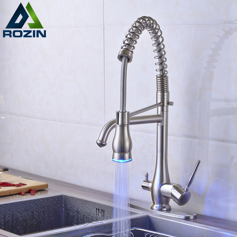 Brushed Nickel LED Light Hand Sprayer Kitchen Sink Faucet