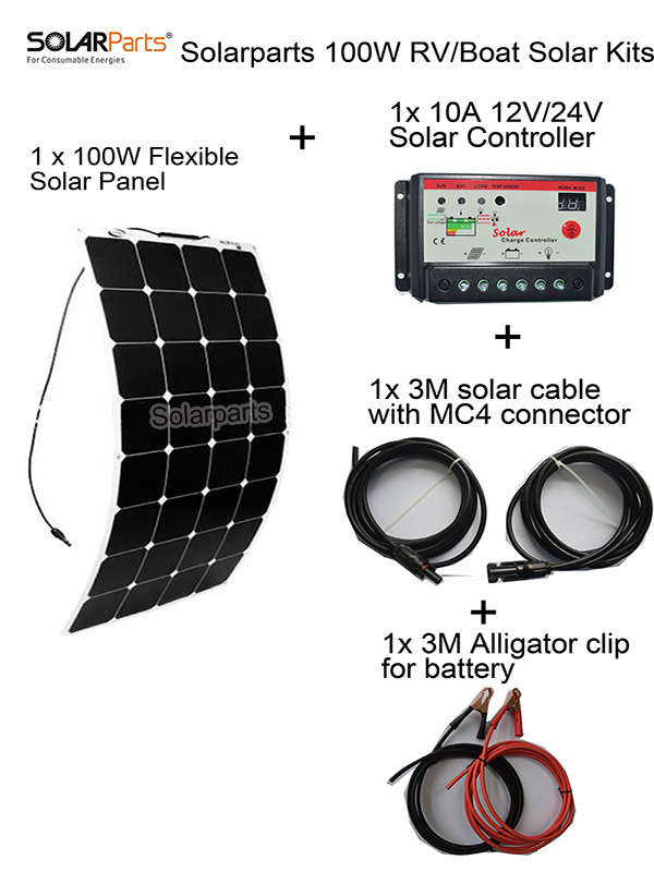 Solarparts 100W DIY RV/Marine Kits Solar System1x100W flexible solar panel 12V,1 x10A 12V/24V solar controller set cables cheap. solarparts 1x 30w flexible photovoltaic solar panel battery charger system kits solar cell high efficiency 12v diy kit rv marine