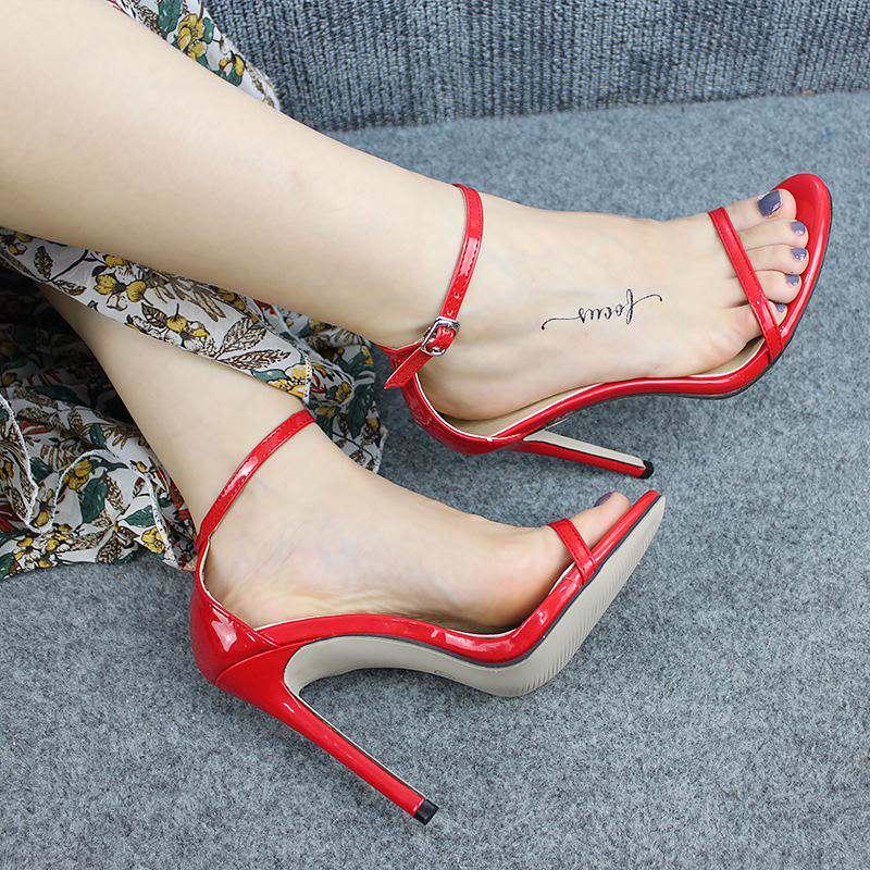 2019 Women Summer Sandals 10cm Fashion Solid Color Casual Open Toe Super High Heel Fish Head Pumps Party Wedding Shoes