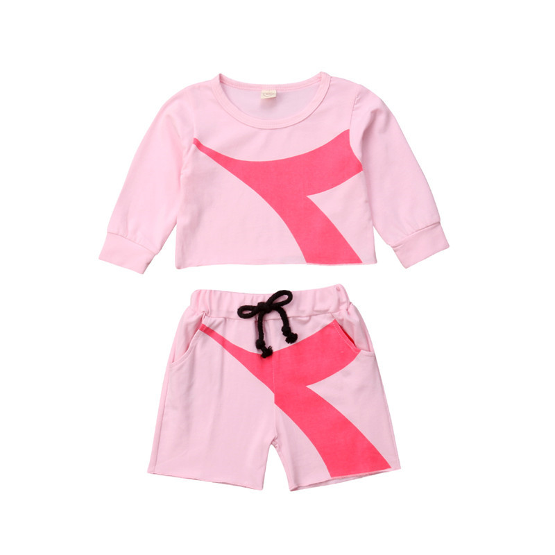 Canis 2018 Autumn Baby Girl 2Pcs Clothes Set Newborn Baby Girls Long Sleeve Crop Top Hoodies Shorts Tracksuit Vestidos trumpet sleeve knot hem crop top