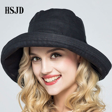 69f2204d948 2018 Summer Women Men Bowknot Cotton Foldable Sun Hat Solid color Anti-UV  Beach hat Leisure