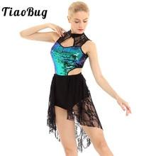 TiaoBug Sleeveless Shiny Sequins Asymmetrical Lace Ballet Leotard Women Figure Skating Dress Contemporary Lyrical Dance Costumes