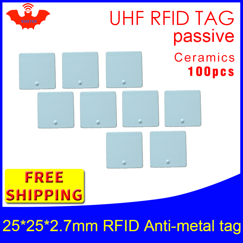 UHF RFID Metal Tag 915m 868m Alien H3 EPC ISO18000 6c 100pcs Free Shipping 25*25*2.7mm Fixed Assets Ceramics Passive RFID Tags