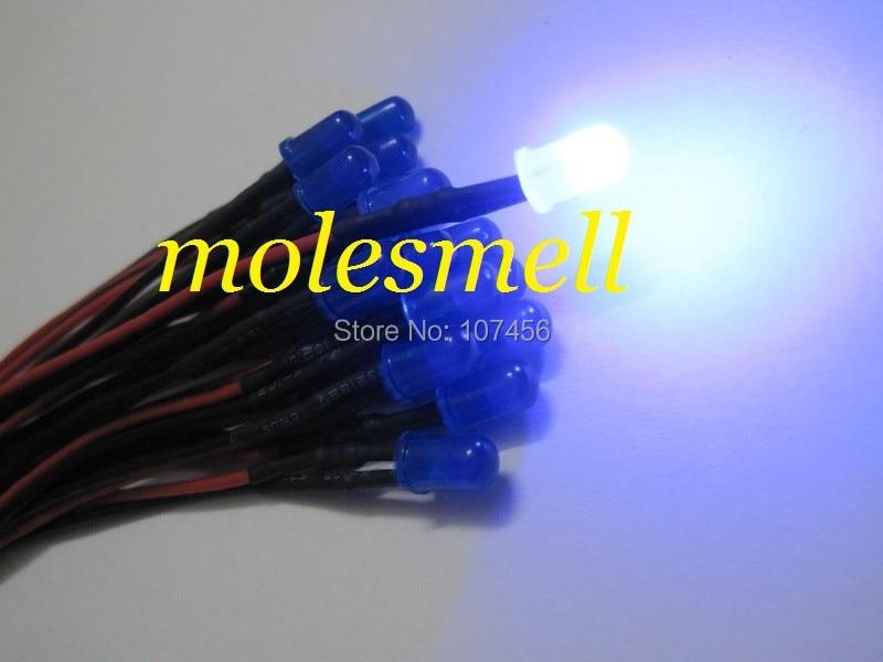 50pcs 5mm 12v Diffused Blue 12V DC Blue Lens 20cm Pre-Wired LED Light DIY Free Shipping