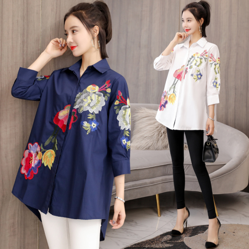 Plus size 2019 Floral Embroidered Blouse Shirt Women Cotton Loose White Tops Chemisier Long Sleeve Blouses Woman Office Shirts