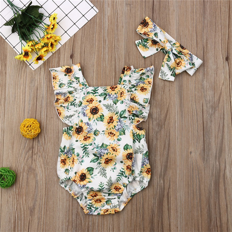 0-2T Lovely Newborn Baby Girl   Rompers   Fuffle Sleeve Backless Belt Jumpsuit Headband 2PCS Toddler Kids Summer Girl Clothes