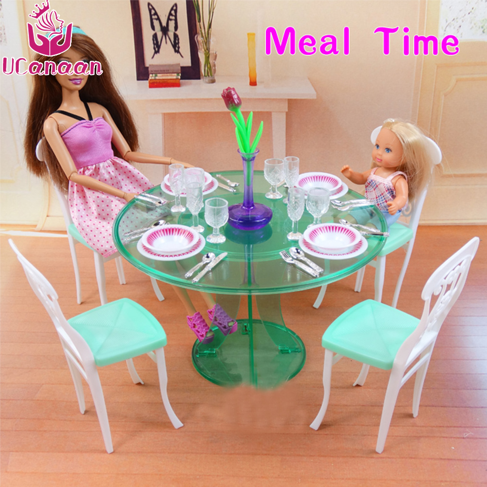 UCanaan 1/6 Doll Mini furniture Accessories Kitchen table Set DIY play house for Children Baby Girl to Choose toys mini doll house accessories simulation mini suitcase life scene ornaments model