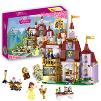 2017 New Beauty And The Beast Princess Belle S Enchanted Castle Building Blocks Girl Kids Toys