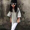 2017 весна осень девушки дети твердые чисто серого цвета без бретелек рукава летучая мышь рубашка