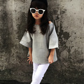 2017 spring autumn girls kids solid pure gray strapless bat sleeve shirt