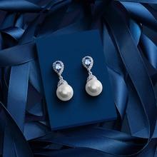 цены Warme Farben genuine 925 Sterling Silver pearl Drop Earrings for Women Pendant Earring Crystal From swarovski Party Gift Jewelry