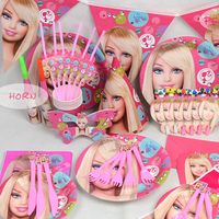 90pcs Priness Kids Girls Disposable Paper Cups Plates Party Pack Birthday Party Tableware Decoration Set Party
