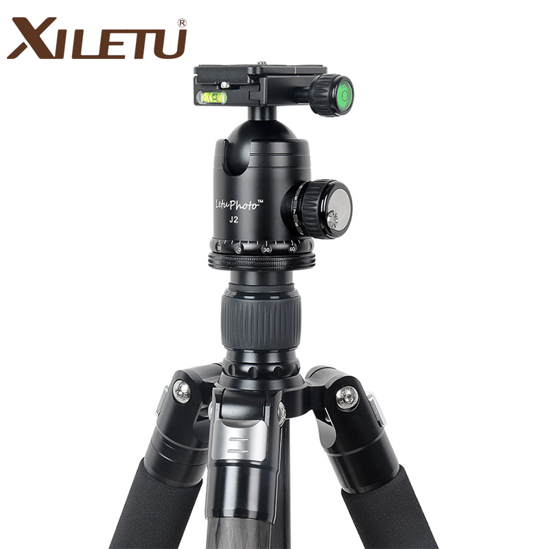 XILETU L334C J2 Professional Luxury Carbon Fiber Tripod Kit with 33mm Max Diameter Tube 20kg Load