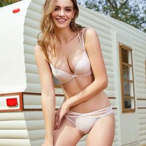 Image 3 - Sostén push up con cierre frontal para mujer, Conjunto de sujetador Con aros, ropa interior, lencería cruzada con espalda de encaje